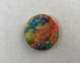 Abstract Rainbow Clay Pin. Clay Pin. Abstract Pin. Rainbow Pin.