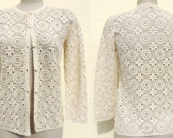 Intricate Cotton Crochet Handmade Top Blouse Cardigan Sweater Jacket Small Medium