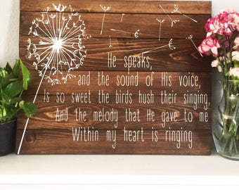 In the Garden Pallet Sign, In the Garden Hymn Sign, Wooden Hymn Sign, Christian Hymn Pallet Wall Art, Rustic Hymn Art,