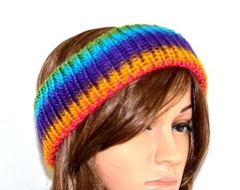 Rainbow Ear Warmer, Boho Knitted Headband, Hand Knit Ear Warmer, Hipster Headband, Women Earwarmer, Hipster Earwarmer, Knit Boho Headband