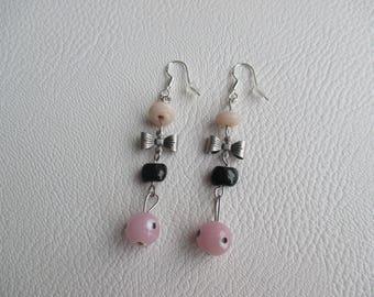 Unique Stud Earrings, handmade, romantic inspiration vintage bows, pink, black, silver