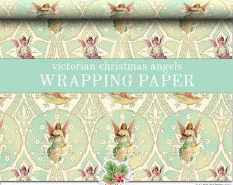 Victorian Christmas Wrapping Paper Roll |  Vintage Angels Christmas Custom Gift Wrap In Two Sizes Great For A Victorian Christmas Theme