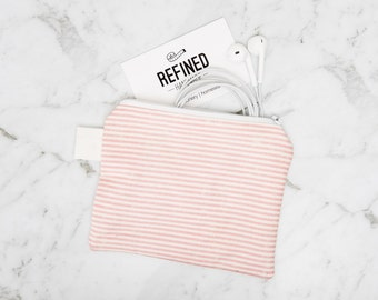 Pink and White Striped Zipper Pouch - zippered pouch - purse - cosmetic bag - cosmetic pouch - coin purse - accessory bag