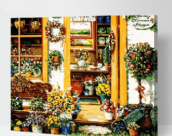 Painting By Numbers Kit DIY Flower House Painting Kit DIY Oil Painting On Canvas Gifts Wall Art Handmade Gift DIY Kit Craft Kit Wall Deco