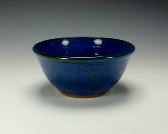 Stoneware pottery bowl.  Cobalt blue.  Ready to ship.