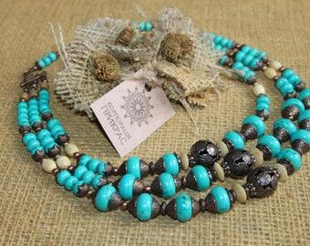 Chunky blue multi strand turquoise necklace, Statement turquoise tribal ethnic necklace Modern traditional Slavic jewelry  Ukrainian beads
