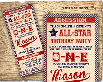 Baseball birthday invitation - first birthday invitation baseball ticket invitation - boys baseball invitation - DIY Printable invitation