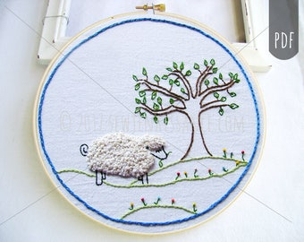 PDF Embroidery Pattern, Wooly Sheep,  Tree, Hand Embroidery  Pattern
