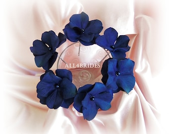 Navy Blue Hair Flowers, hydrangea hair pin set of six, bridal or bridesmaids wedding hair accessories