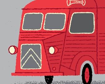 Citroen H Van, Tour de France, Cycling Art Print