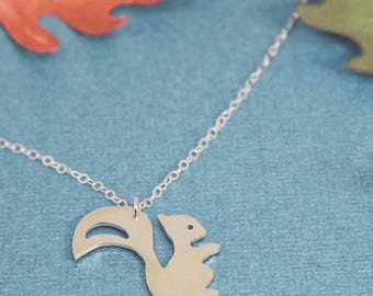 Squirrel Silhouette Silver Necklace