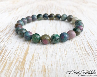 Ruby in Kyanite Bracelet, July Birthstone Ruby Bracelet, Mala Beads Bracelet, Gemstone Bracelet, Buddhist Jewelry, Healing Crystal Bracelet