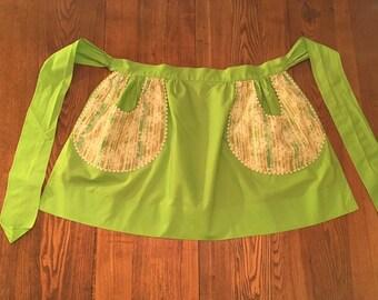 Vintage Handmade Half Apron- Green