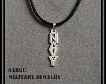 Navy pendant etsy navy pendant sterling silver navy necklace united states navy jewelry silver navy pendant mozeypictures Images