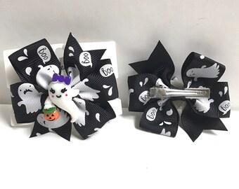 Ghost bow with charm hair bow clip