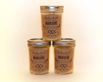 Moonshine Candle, Whiskey Candle, Soy Candles, Jelly Jar Candles, Prohibition Decor, Container Candles, Alcohol Gifts, Booze Gifts