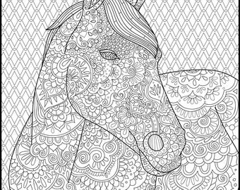 Printable Coloring Page Adult Coloring Pages Horse