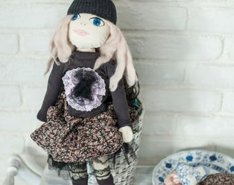 OOAK, Textile doll, decorative doll, collectible dolls, doll cotton, rag doll
