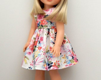 14.5 inch Doll Clothes-Rose Garden Dress