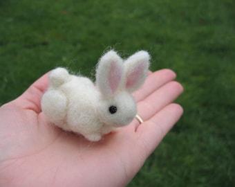 Miniature White Bunny Rabbit Wool Figure