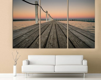 """Wooden pier and sunset beach, 3 panel split (triptych) Canvas Print. 1.5"""" deep frames blue and yellow skies for interior room decorwall art"""