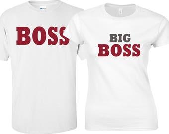 Couples Shirts, Honeymoon Shirts, Vacation Shirts. Big Boss, Funny Couples, Couples Matching Shirts, Wedding Gift, Gift