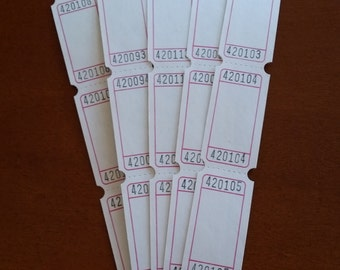 50 or 100 Blank Tickets (White)