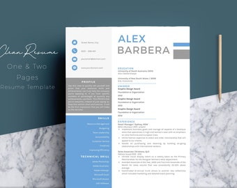 Professional Resume Template, Cover Letter, Word, US Letter, A4, CV Template, Creative Modern Teacher Resume, Instant Download, Alex Barbera