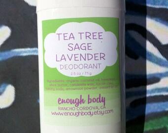 Tea Tree Sage Lavender Natural Deodorant Stick ~ Aluminum Free Deodorant