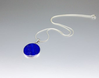 Round pendant necklace Lapis Lazuli and Sterling silver perfect blue stone pendant for him or her - gift idea - royal blue -natural gemstone