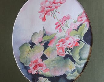 Matted Geranium Floral Watercolor Original Painting on Arches