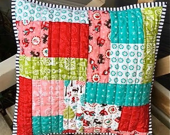Modern Decorative Patchwork Quilted Pillow Cover Red Riding Hood Lil Red by Moda Fabrics Red Pink Green Black White Aqua Blue  Handmade