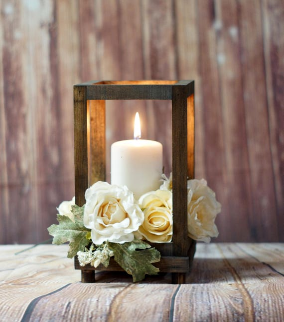 Reclaimed Wood Candle Lantern Centerpiece Rustic Wedding