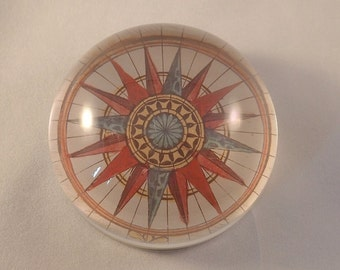 Past Times Paperweight with Printed Compass Rose Design