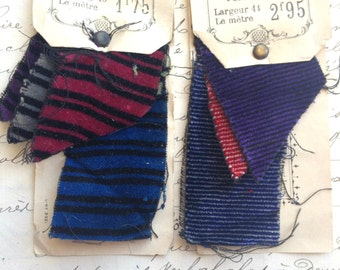 Antique French fabric salesman sample cards, striped silk velvet 1800s Paris Grand Magasin Louvre department store scrapbooking, collection