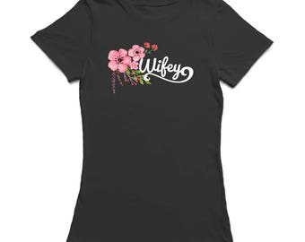 Wifey Hanging Down Flowers Graphic  Women's Black T-shirt