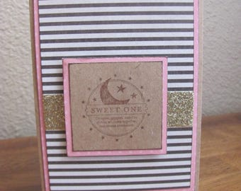 Pink and Strips Sweet One Greeting Card