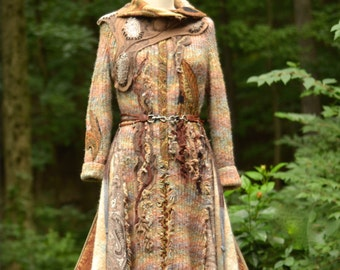 Brown textured Sweater COAT/ Boho Fantasy clothing with beaded appliqués, fantasy long OOAK Coat Size Medium/ Large. Ready to ship