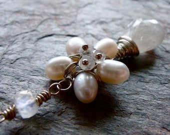 Pearl, Moonstone, and Sterling Silver Flower Pendant Necklace
