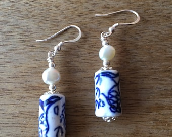 Chinese Porcelain Earrings, Cultured Pearl Earrings, Chinese Earrings, Chinese Blue and White Porcelain Beads and Freshwater Pearls Earrings