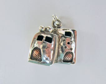 Native American Sterling Silver and Bronze Adobe House Pendant or Charm    2076B