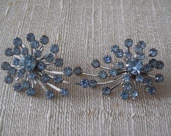 Tara Baby Blue Clip on Earrings, Mid Century Earrings, Estate Jewelry, Bridal Earrings,