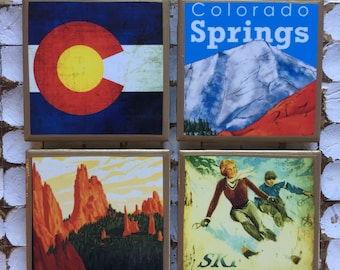 COASTERS!! Vintage Colorado travel poster coasters with gold trim