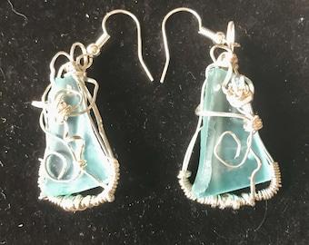 Aqua stone Silver Wire Wrapped Earrings