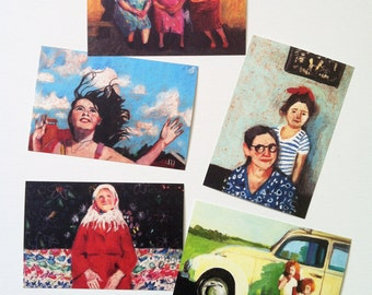 set of 5 printed postcards- Printed on a fine quality 250 gram paper - 4x6 inch card-paper goods