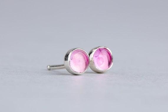 Light Pink Sapphire Gemstone Stud Earrings in Sterling Silver
