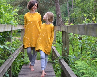 Mother and daughter dresses matching custom dress cotton jersey smock mom bird print swallow mama birds jumper twins stretch knit mothersday