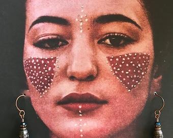 GYPSY SKYBLUE JADE Dangle Teardrop Earrings Boho Ethnic Sufi