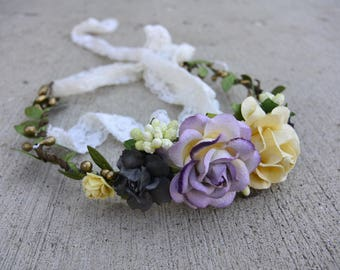 Lavender and Cream Flower Crown - Bridal/Flower Girl Flower Crown - Floral Halo - Hair Wreath