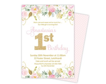 First Birthday Invitation, first birthday girl invitation, boy first birthday invitation, pink and gold first birthday, 1st birthday